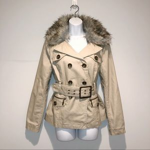 Blanc Noir faux fur belted trench